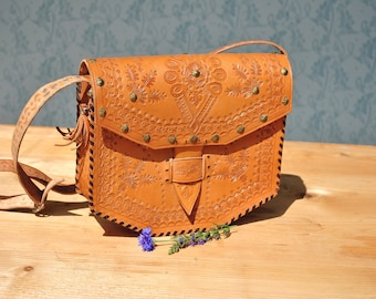 Leather bag, boho leather bag, leather purse, leather shoulder bag, tooled leather purse, bohemian leather bag, hippie leather bag