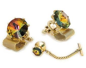 "Vintage"" Dante"" Mesh Cufflink Tie Tac Set - Amber Rivoli Crystal Set Stones - 1960s -  Wraparound cufflinks - Gold tone"