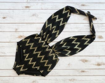 One Piece Swimsuit - Vintage Retro Style High Waisted Pin-up Swimwear - Metallic Gold and Black Chevron Zigzag Patterned Print Bathing Suit