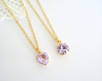 Dainty Alexandrite Necklace, Vintage Crystal Necklace, Purple Rhinestone Necklace, June Birthstone Necklace, Gift for Her