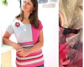 Sherbet. Knitted Jumper Short Sleeves Pink Cotton