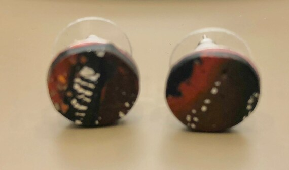Earrings - contemporary handmade red/black/silver polymer clay silver color metal studs