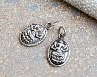 Two Silver Ganesh Charms, Nepal Charms, Ganesh Pendants, Ganesh Charms, Silver Charms, Nepal Jewelry, Silver Jewelry, Pairs, BID17-002A