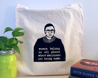 Ruth Bader Ginsburg Supreme Court Screenprinted Tote Bag (Black) | Notorious RBG Feminist Gifts for Her Handmade