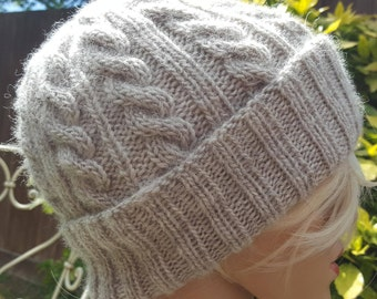 High quality Wool knitted cable beanie hat sizes M L , choose your color