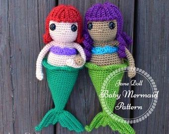 Crochet Mermaid Doll Pattern ~ Jane Doll Baby Mermaid Crochet Pattern