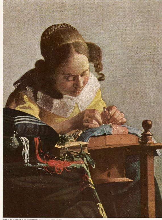 Vintage print of Jan Vermeer painting, The Lace-Maker, Dutch, 11.5 x 8.75 inches, published 1965