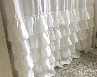 Ruffle Shower Curtain Shabby Chic Bathroom 5 Farmhouse