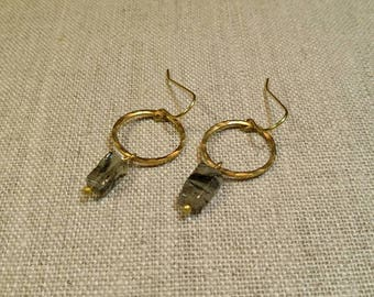 Tourmalinated Quartz Hammered Loop Earrings / Minimalist / Boho Chic / Dainty