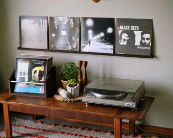 quad record ledge - display 4 records - current listening - vinyl display -  now playing