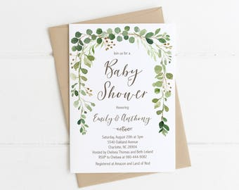 Printable Baby Shower Invitation Invite, Greenery Green Laurel Woodland, Gender Neutral, Boy Baby Shower, Girl Shower, Sprinkle, Nature 70J