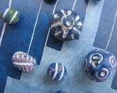 Blue Colored Clay Beads Exotic Ceramic Beads Ethnic Boho Carved Beads White Etched Indigo Bead Pendants Exotic Unique Colorful Tribal Beads