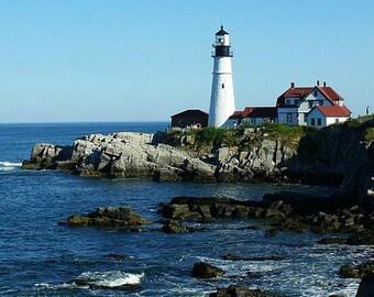 Portland Head Lighthouse cross stitch pattern, lighthouse pattern, landscape cross stitch, beach cross stitch, ocean cross stitch