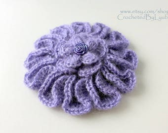 Crochet Brooch, Lavender Mohair Flower Brooch, Crochet Jewelry, Unique Crochet Large Flower, Handmade Crochet Gift For Women, Ready to Ship