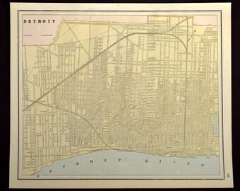Detroit Map Detroit Street Map Antique Michigan