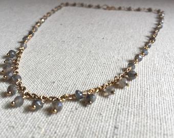 Labradorite gemstone gold choker necklace