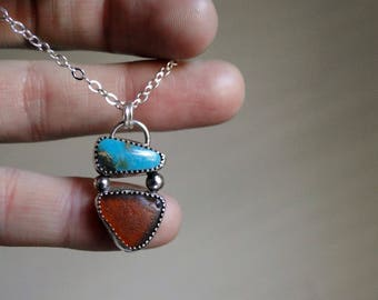 Nevada Turquoise and Amber Sea Glass, Sea Glass and Turquoise, Sterling Silver, Turquoise Jewelry, Turquoise Necklace, Turquoise Pendant