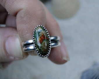Ocean Jasper Ring, Double Band, Sterling Silver, Green Jasper Ring, Red Jasper Ring, One of a Kind, Boho Jewelry, Gemstone Ring, Size 5.5