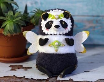 panda doll ooak panda toy stuffed animal toy stuffed panda soft plush figurine panda sculpture polymer clay