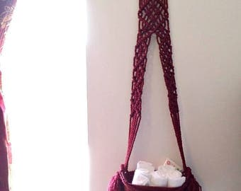 Storage basket Burgundy home decor Modern Macrame Floating storage Wicker basket Fringe macrame hanging storage Housewarming storage gift