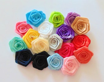 Fabric Rolled Rosette Flowers DIY Headband Hair Accessories Supplies 2 Inch Solid Color Hair Accessory Shop Supply Choice of Color & Amount