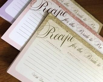 Recipe card for bridal shower: Gold sparkle blush, rose gold, silver sparkles- DOWNLOAD or printed