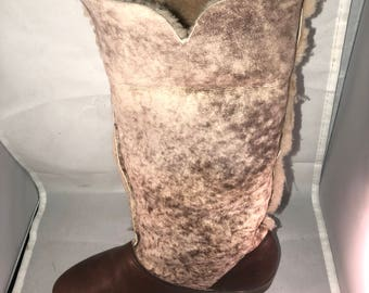 Vintage Hush Puppy Shearling/Leather Boots Marked Size 9