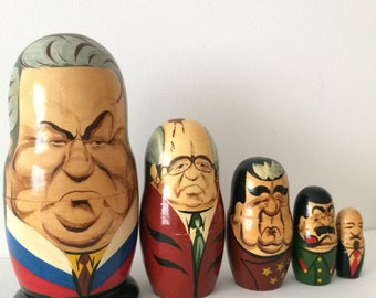 Vintage Russian Nesting Doll, Matryoshka Doll, Russian Leader 5 pieces
