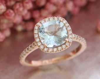 Halo Diamond Aquamarine Engagement Ring In 14k Rose Gold Pave Wedding Band 8x8mm Cushion Cut