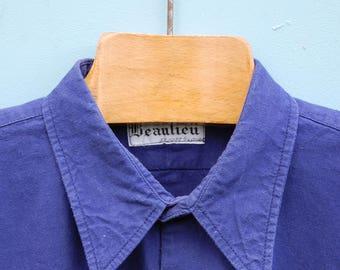 Vintage French workwear shirt |Bleu de travail |Biaude| French chore shirt| Blue work shirt| French work shirt| 1960s| neck 40cm 15 inches
