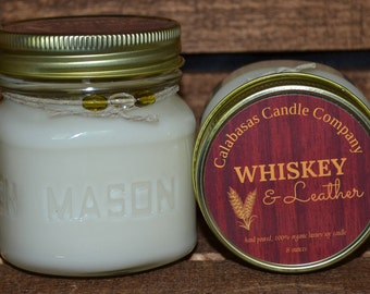 Father's Day Gift-Whiskey & Leather Organic Soy Candle