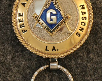 IN STOCK - UNLESS Personalized - Custom handcrafted Masonic key chain, Louisiana Free And Accepted