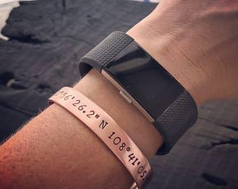 Custom Coordinates Copper Cuff Bracelet | Latitude Longitude Jewelry | Location GPS Coordinates Gift | Wedding Or Anniversary Jewelry Gift