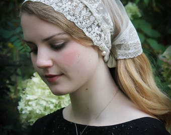 Evintage Veils~ Cameo Lace So Soft Headwrap Soft Ivory Vintage-Inspired  Lace Headband Kerchief Tie-style Head Covering Church Veil