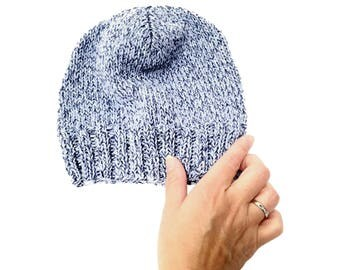 Beannie Watchcap Knit Hat Pattern - Made with our Recycled Cotton Yarn