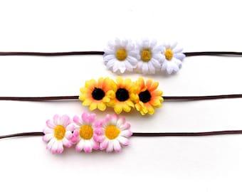 Triple daisy headband or bun wrap, multi-use floral hair accessory with sunflowers or daisies, simple Coachella flower crown headband