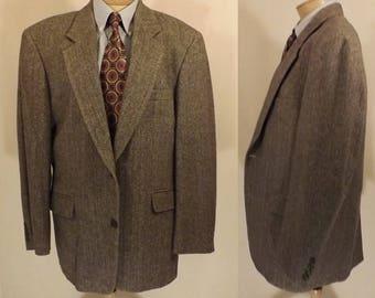 Vintage Ron Chereskin Gray Herringbone Camel Hair Sport Coat 42