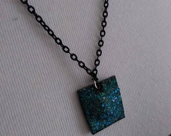 Blue and Black Galaxy Sparkle Necklace Pendant on Black Chain