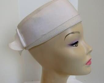 1960's white pill box hat by Clover Lane