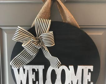 Welcome Door Hanger, Welcome Door Sign, Front Door Decor, All Year Door Hanger, Housewarming Gift, Wood Sign, Welcome Sign For Front Door
