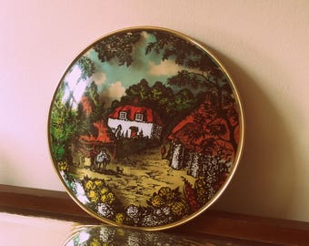 Vintage 60's 3D Convex Domed Glass Thatched Country Cottage picture