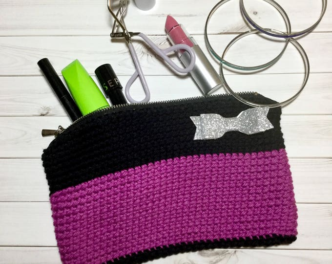 Purple and Black Crochet Makeup Bag with Silver Bow, Clutch Purse, Makeup Case, Cosmetics Bag