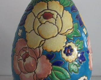 Catteau Boch Keramis art deco ceramic  vase  colorfull flowers
