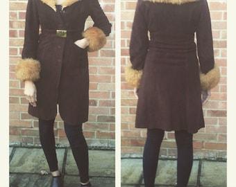 Vintage 60s 70s Brown Suede & Faux Sheepskin/Shearling Jacket / Coat, UK 6-8, US 2-4, XS-S