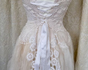 Wedding dress steampunk,boho wedding dress white crochet,bridal gown airy tulle,antique laces,victorian wedding dress tattered,fairy wedding