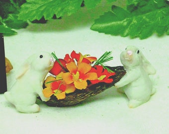 Bunny Rabbits Carrying a Nut Shell Filled with Flowers & Mini Grass  Garden Accessory Inside or Outside Fairy Accessory