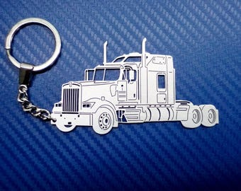 Kenworth W900L Truck Keychain, Ready to ship, Keychain for Kenworth W900L Truck, Custom Keychain, Stainless Steel Keyring, Gift for Him