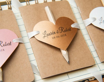 50+ Kraft wedding favours. Mini notebook favours with printed hearts,ribbons and pencil. Notebook favours. Custom wedding favour place cards