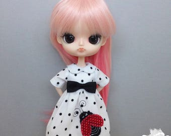 Fashion Doll Clothes/1:6 Scale/Handmade Doll Dress/Custom OOAK Dal Byul Yeolume Dress/Adult Collectors/Summer Ladybug Dress Red Black White
