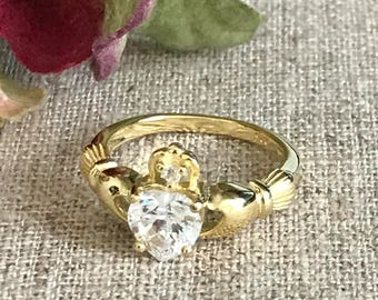 Claddagh Ring, Gold Plated Sterling Silver Traditional Irsh Claddagh Ring,Claddagh Wedding Ring, Birthstone Claddagh Ring